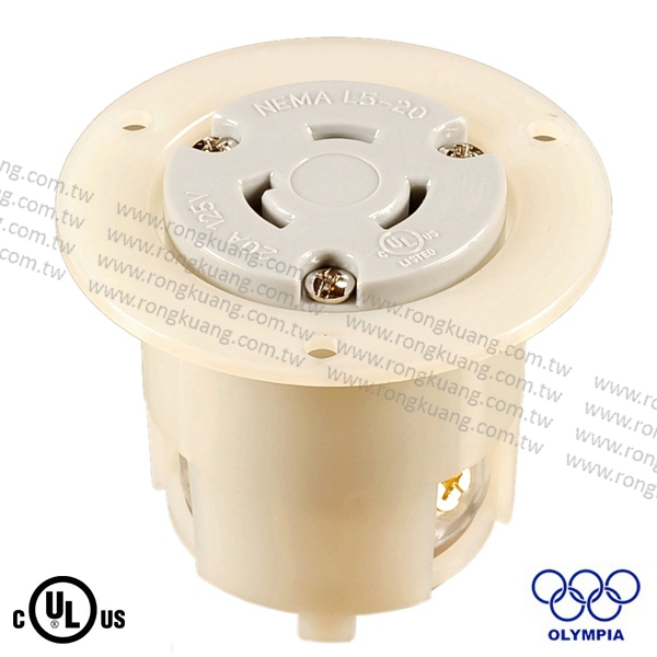 NEMA L5-20 Locking Flanged Outlet